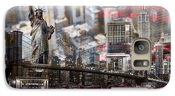 Galaxy Case featuring the photograph Manhatten From Above by Hannes Cmarits