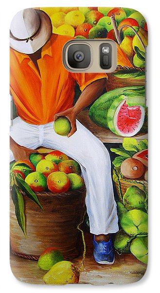 Mango Galaxy S7 Case - Manuel The Caribbean Fruit Vendor  by Dominica Alcantara