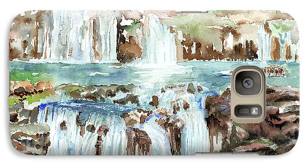 Galaxy Case featuring the painting Many Waterfalls by Arline Wagner