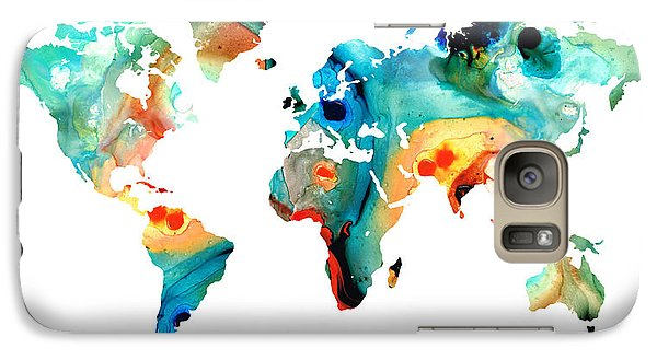 Map Of The World 11 -colorful Abstract Art Galaxy Case by Sharon Cummings