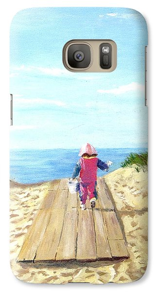 Galaxy Case featuring the painting March To The Beach by Jack Skinner