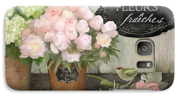 Galaxy Case featuring the painting Marche Aux Fleurs 2 - Peonies N Hydrangeas W Bird by Audrey Jeanne Roberts
