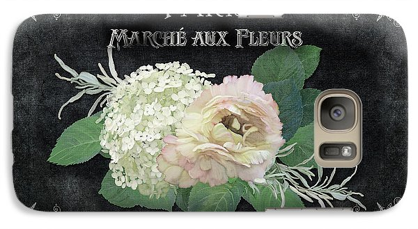 Galaxy Case featuring the painting Marche Aux Fleurs 4 Vintage Style Typography Art by Audrey Jeanne Roberts