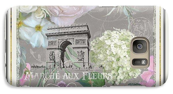 Galaxy Case featuring the painting Marche Aux Fleurs Vintage Paris Arc De Triomphe by Audrey Jeanne Roberts