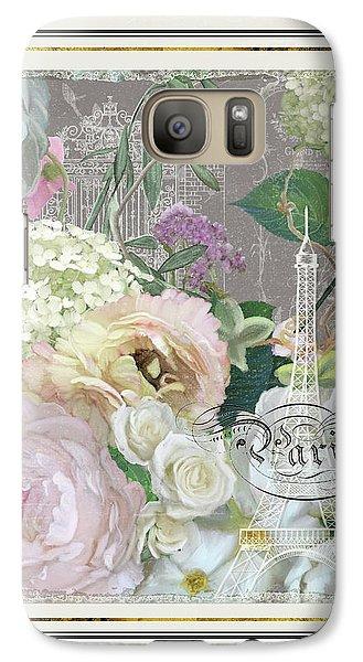 Galaxy Case featuring the painting Marche Aux Fleurs Vintage Paris Eiffel Tower by Audrey Jeanne Roberts