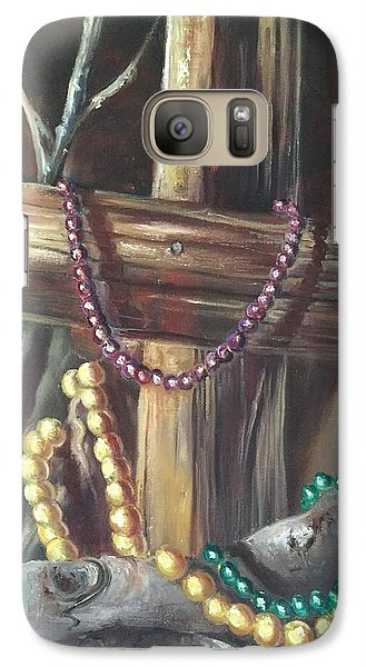 Galaxy Case featuring the painting Mardi Gras Beads And Hurricane Katrina by Randol Burns