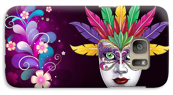 Galaxy Case featuring the photograph Mardi Gras Mask On Floral Background by Gary Crockett
