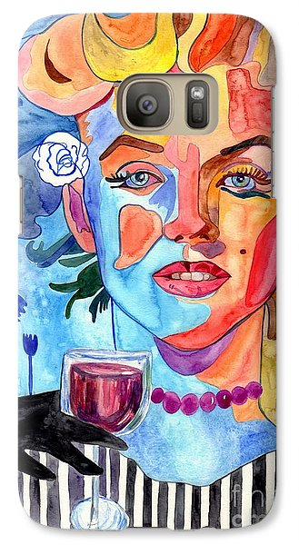 London Tube Galaxy S7 Case - Marilyn Monroe Drinking Wine by Suzann's Art
