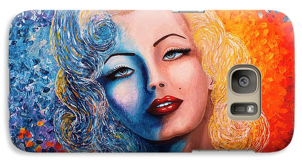 Galaxy Case featuring the painting Marilyn Monroe Original Acrylic Palette Knife Painting by Georgeta Blanaru
