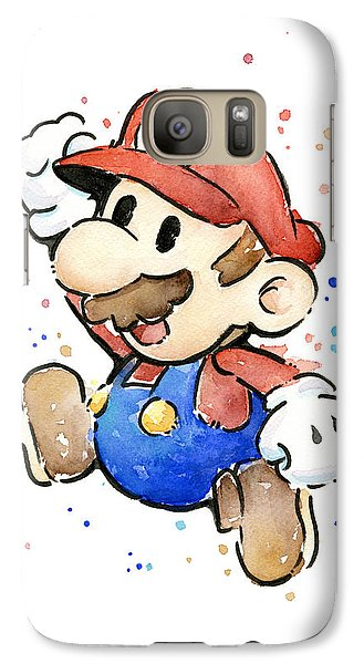 Mario Watercolor Fan Art Galaxy Case by Olga Shvartsur