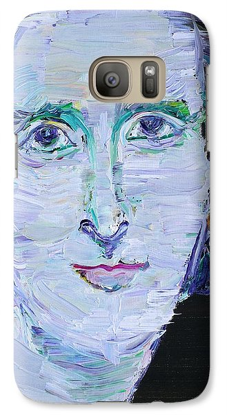 Galaxy Case featuring the painting Mary Shelley - Oil Portrait by Fabrizio Cassetta