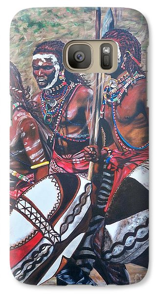 Galaxy Case featuring the painting Masaai Warriors by Sigrid Tune