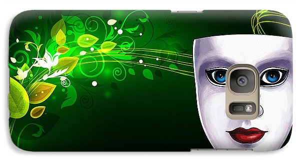 Galaxy Case featuring the photograph Mask Blue Eyes On Green Vines by Gary Crockett