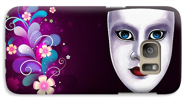 Galaxy Case featuring the photograph Mask With Blue Eyes Floral Design by Gary Crockett