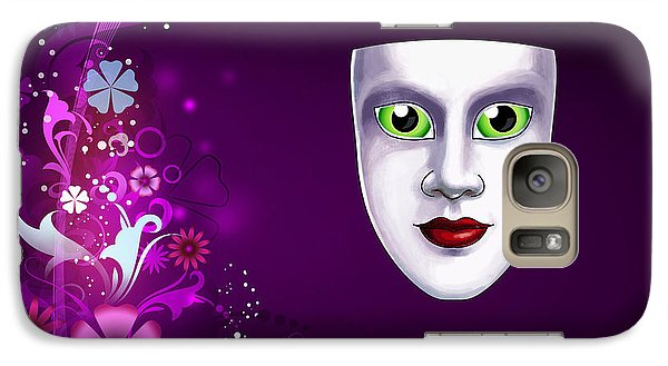 Galaxy Case featuring the photograph Mask With Green Eyes On Pink Floral Background by Gary Crockett