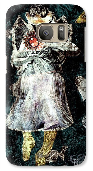 Galaxy Case featuring the painting Masked Angel Holding The Sun by Genevieve Esson