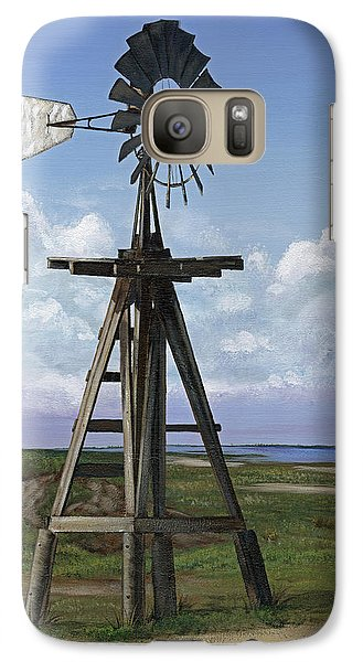 Galaxy Case featuring the painting Matagorda Beach Windmill by Jimmie Bartlett