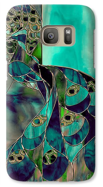 Peacock Galaxy S7 Case - Mating Season Stained Glass Peacock by Mindy Sommers