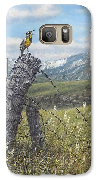 Galaxy Case featuring the painting Meadowlark Serenade by Kim Lockman