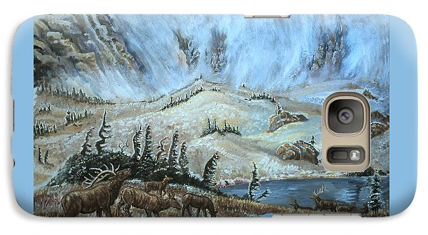 Galaxy Case featuring the painting Medicine Bow Peak In Clouds With Elk by Dawn Senior-Trask