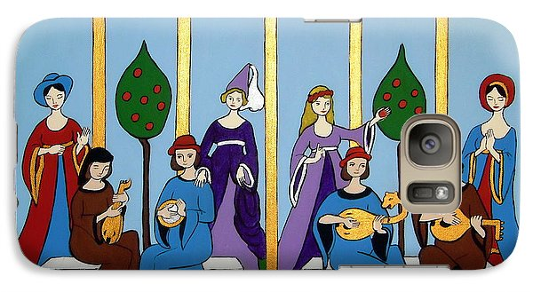 Galaxy Case featuring the painting Medieval Musicians by Stephanie Moore