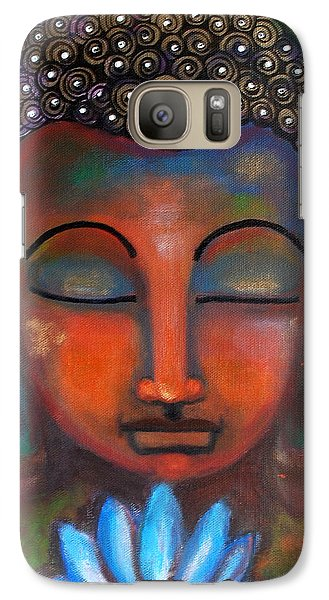 Galaxy Case featuring the painting Meditating Buddha With A Blue Lotus by Prerna Poojara