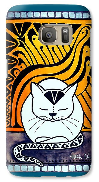 Galaxy Case featuring the painting Meditation - Cat Art By Dora Hathazi Mendes by Dora Hathazi Mendes