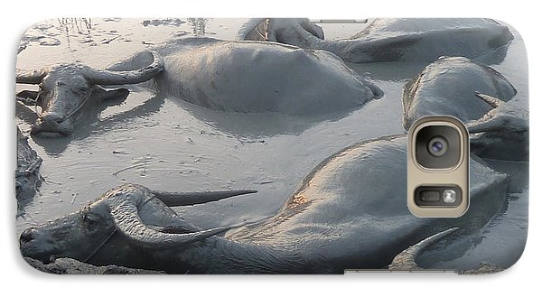 Galaxy Case featuring the photograph Medium Shot Of A Group Of Water Buffalos Wallowing In A Mud Hole by Jason Rosette