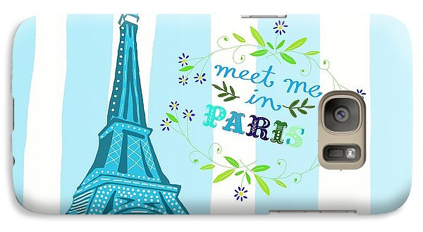 Meet Me In Paris Galaxy Case by Priscilla Wolfe
