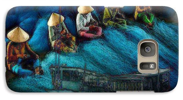 Galaxy Case featuring the painting Mekong Weavers by Mojo Mendiola