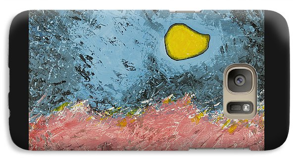 Galaxy Case featuring the painting Melting Moon Over Drifting Sand Dunes by Ben Gertsberg