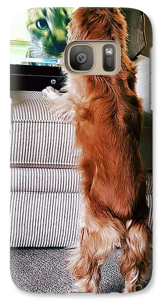 Galaxy Case featuring the photograph Meow Woof by Polly Peacock