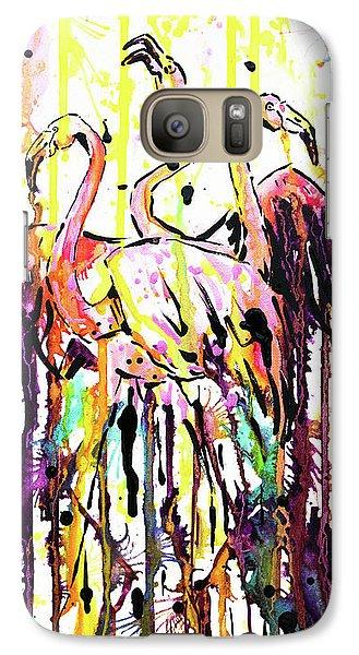 Galaxy Case featuring the painting Merging. Flamingos by Zaira Dzhaubaeva