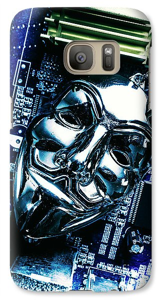 Metal Anonymous Mask On Motherboard Galaxy S7 Case by Jorgo Photography - Wall Art Gallery