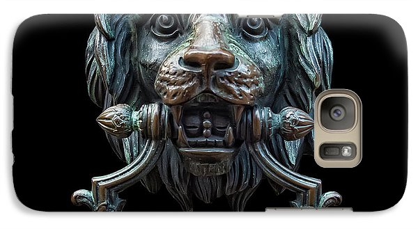 Galaxy Case featuring the photograph Metal Lion Head Doorknocker Isolated Black by Antony McAulay