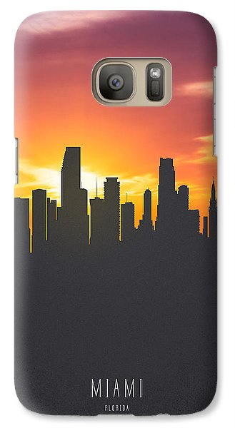 Miami Florida Sunset Skyline 01 Galaxy Case by Aged Pixel