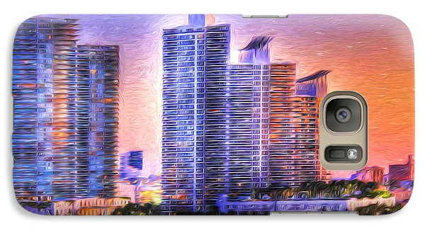 Galaxy Case featuring the photograph Miami Skyline Sunrise by Shelley Neff