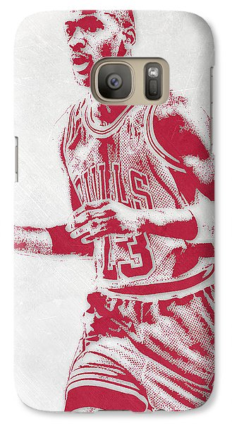 Michael Jordan Chicago Bulls Pixel Art 2 Galaxy Case by Joe Hamilton