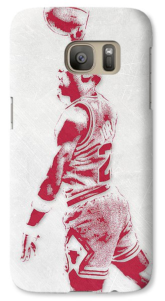 Michael Jordan Chicago Bulls Pixel Art 3 Galaxy Case by Joe Hamilton