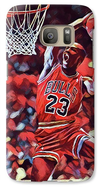 Galaxy Case featuring the painting Michael Jordan Slam Dunk by Dan Sproul