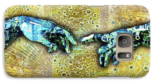 Galaxy Case featuring the mixed media Michelangelo's Creation Of Man by Tony Rubino