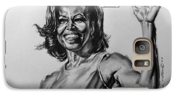 Galaxy Case featuring the painting  Michelle Obama  by Darryl Matthews