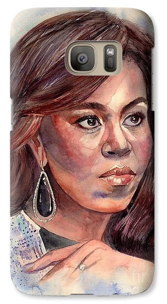 Barack Obama Galaxy S7 Case - Michelle Obama Portrait by Suzann's Art