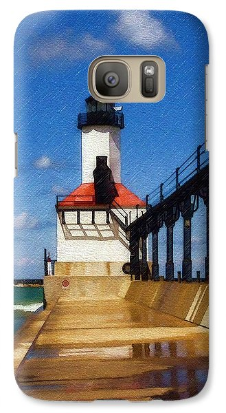Galaxy Case featuring the photograph Michigan City Light 1 by Sandy MacGowan