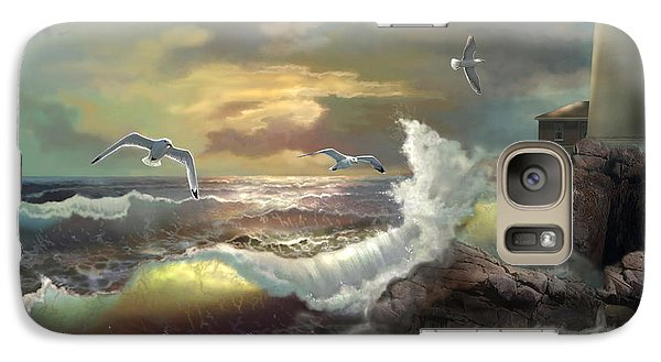 Seagull Galaxy S7 Case - Michigan Seul Choix Point Lighthouse With An Angry Sea by Regina Femrite