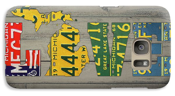 Michigan State Galaxy S7 Case - Michigan State Love Heart License Plates Art Phrase by Design Turnpike