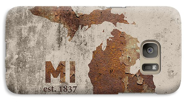 Michigan State Galaxy S7 Case - Michigan State Map Industrial Rusted Metal On Cement Wall With Founding Date Series 005 by Design Turnpike
