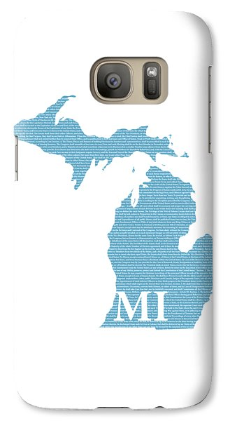 Michigan State Galaxy S7 Case - Michigan State Map With Text Of Constitution by Design Turnpike
