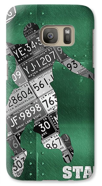 Michigan State Galaxy S7 Case - Michigan State Spartans Basketball Player Recycled Michigan License Plate Art by Design Turnpike