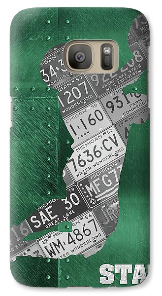 Michigan State Galaxy S7 Case - Michigan State Spartans Receiver Recycled Michigan License Plate Art by Design Turnpike